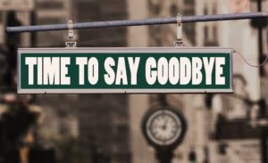 "Image of street sign with the eords ""Time To Say Goodbye"""