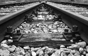 Image of train tracks merging